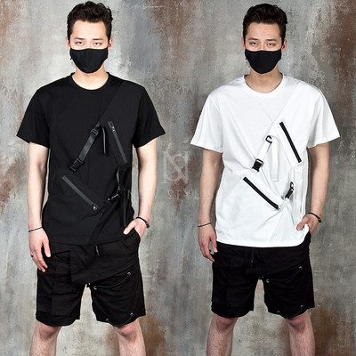 Zipper and buckle strap t-shirts