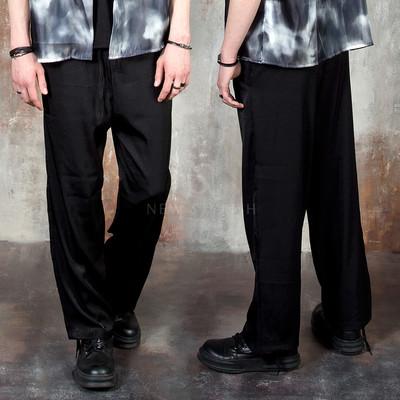 Satin plain banded pants