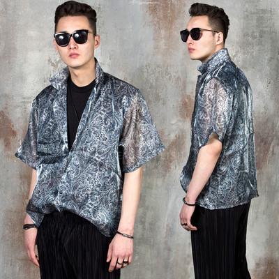 Paisley patterned see-through shirts
