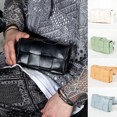 Braided leather mini cassette bag