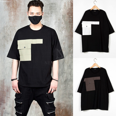Contrast linen pocket t-shirts