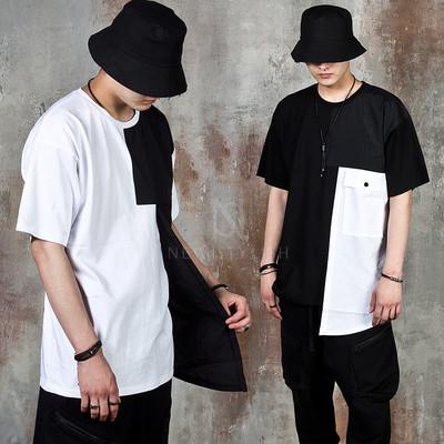 Asymmetric contrast linen pocket t-shirts