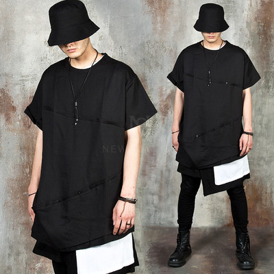 Avant-garde asymmetric diagonal button-up t-shirts