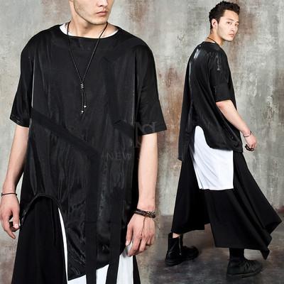 Avant-garde asymmetric strap t-shirts