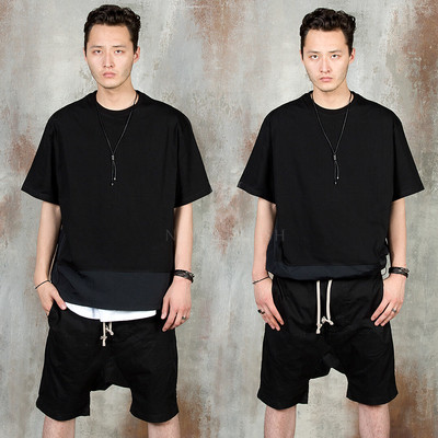 Contrast string bottom hem t-shirts