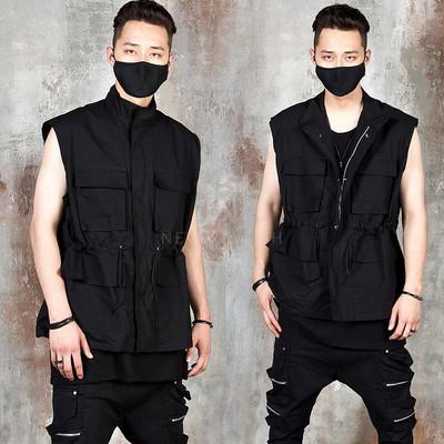 Multiple pocket mock neck techwear zip-up vest