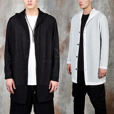 Hooded long knit cardigan