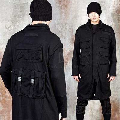 Multiple pocket techwear arm warmer coat