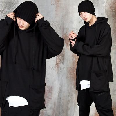 Distressed Unbalanced hem black hoodie