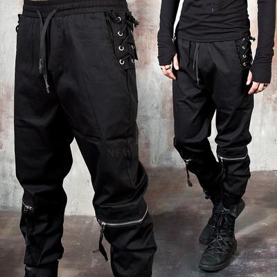 Side eyelet zipper banded pants