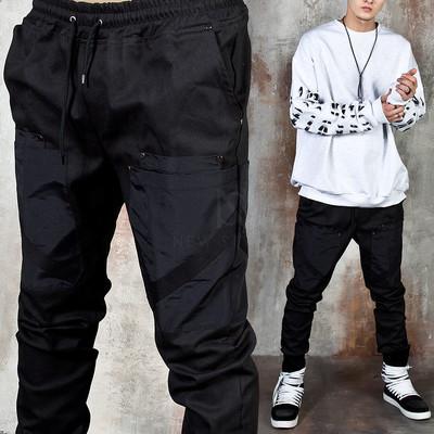 Strap double pocket banded pants
