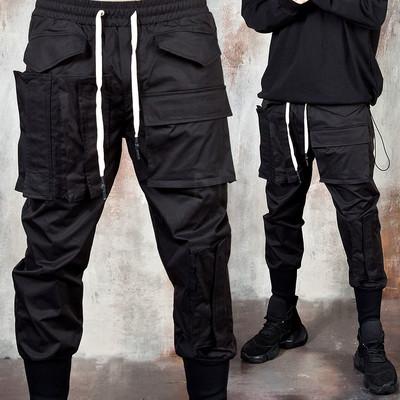 Multiple pockets long banded hem pants