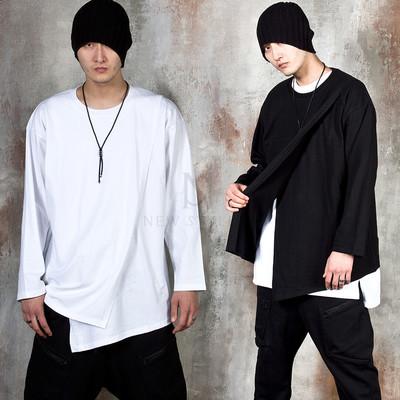 Cross layered unbalance loose t-shirts
