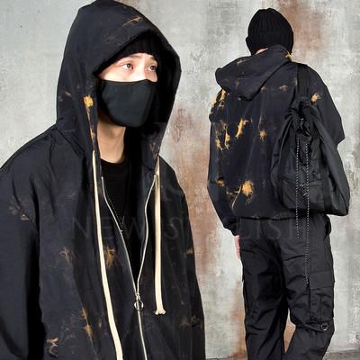 Watercolor smoke pattern hooded zip-up jacket